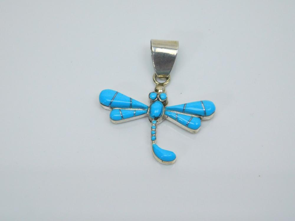 Lot 144: Native American Zuni Sterling Silver Inlaid Turquoise Dragonfly Pendant 4G