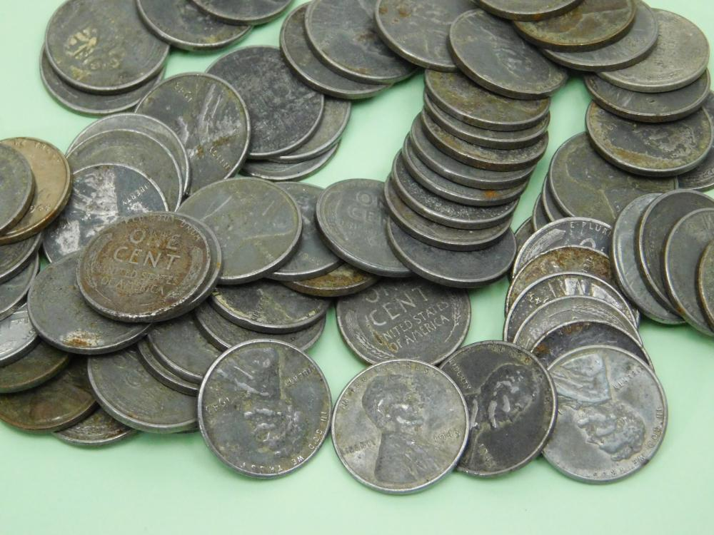 Lot 148: Lot Of 77 United States Mint 1943 Steel Wheat Cents