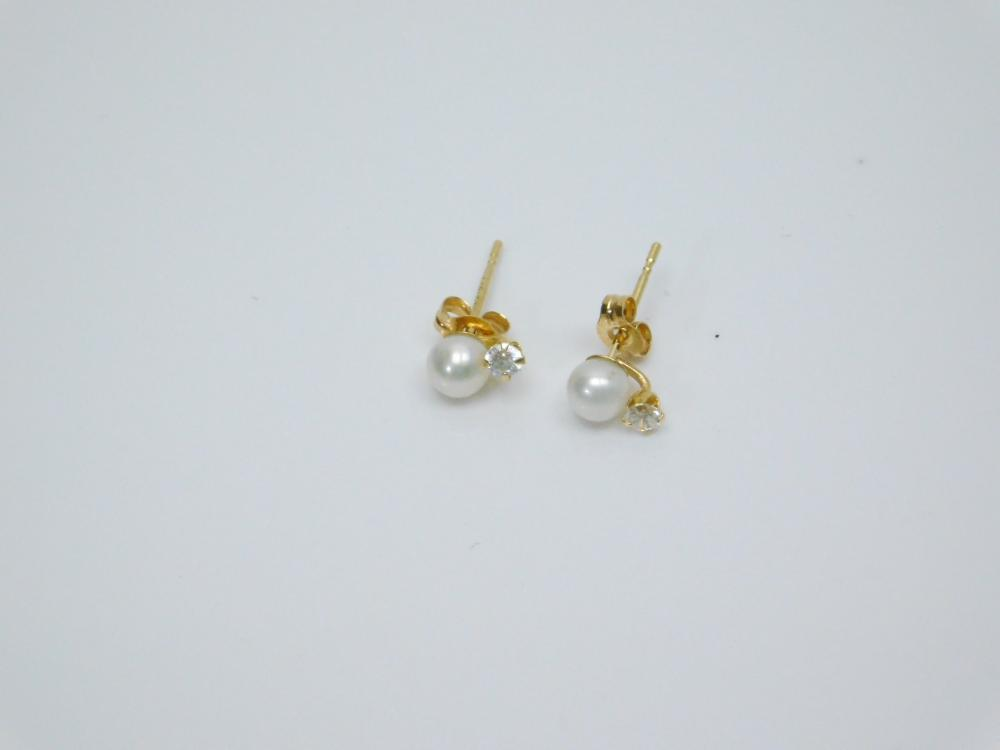 14K Gold 585 Pearl & Diamond Pist Earrings 0.4G