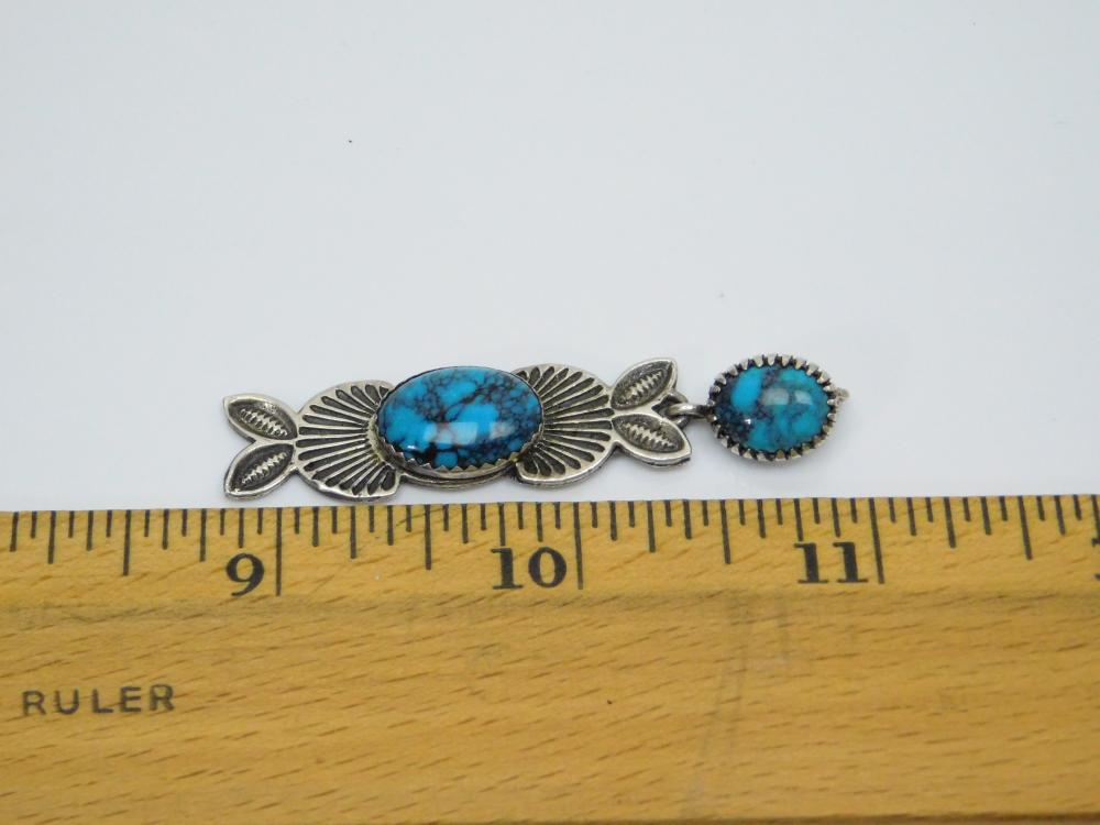 Lot 150: Native American Style Jr Silversmiths Sterling Turquoise Stamped Dangle Pendant 7.2G