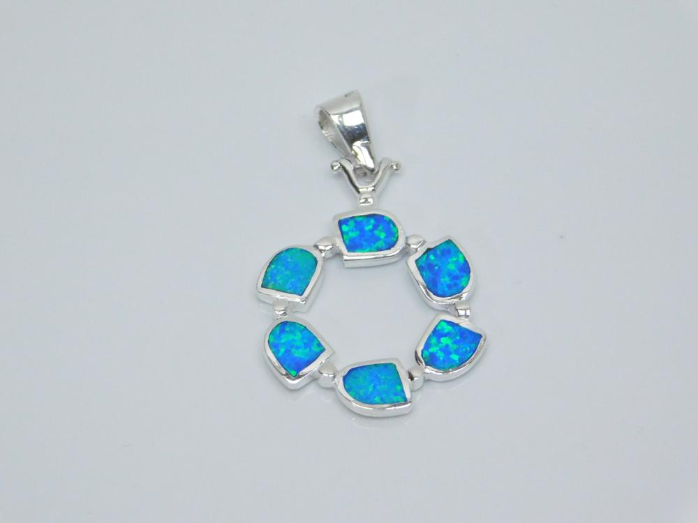 Sterling Silver Inlaid Opal Ring Fashion Pendant 4.9G