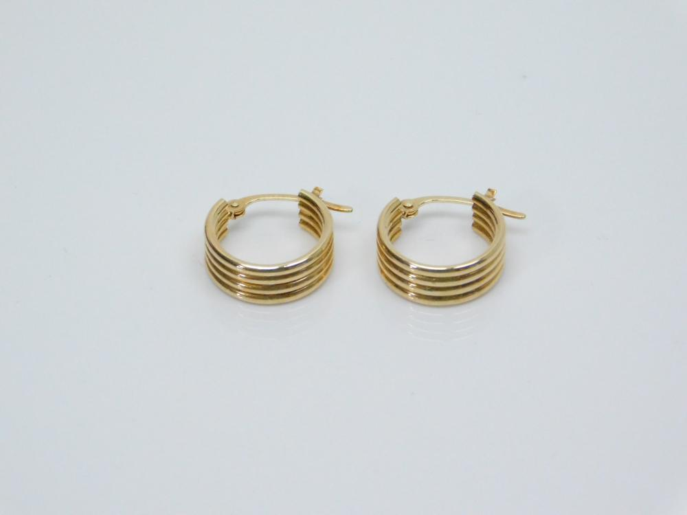 10K Yellow Gold Wide Hoop Dangle Earrings 0.7G