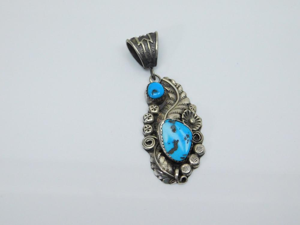 Vintage Native American Navajo Harry B Yazzie Sterling Turquoise Squash Blossom Feather Pendant 16G