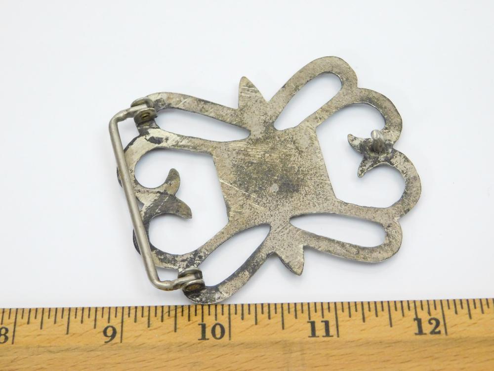 Lot 157: Vintage Native American Sterling Silver Sandcast Belt Buckle 45G