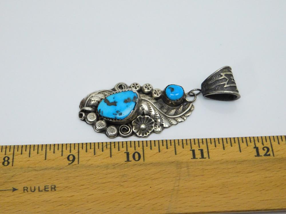 Lot 158: Vintage Native American Navajo Harry B Yazzie Sterling Turquoise Squash Blossom Feather Pendant 16G