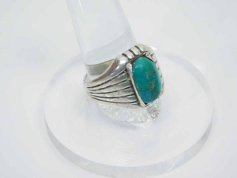 Lot 159: Vintage Native American Sterling Silver Turquoise Ring 10G Sz9.75