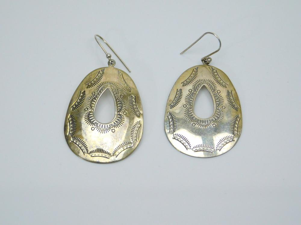 Southwestern Style Sterling Silver Stamped Teardrop Dangle Earrings 6G