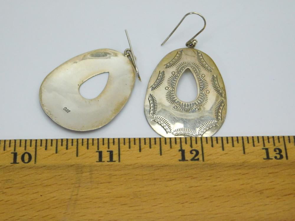 Lot 160: Southwestern Style Sterling Silver Stamped Teardrop Dangle Earrings 6G