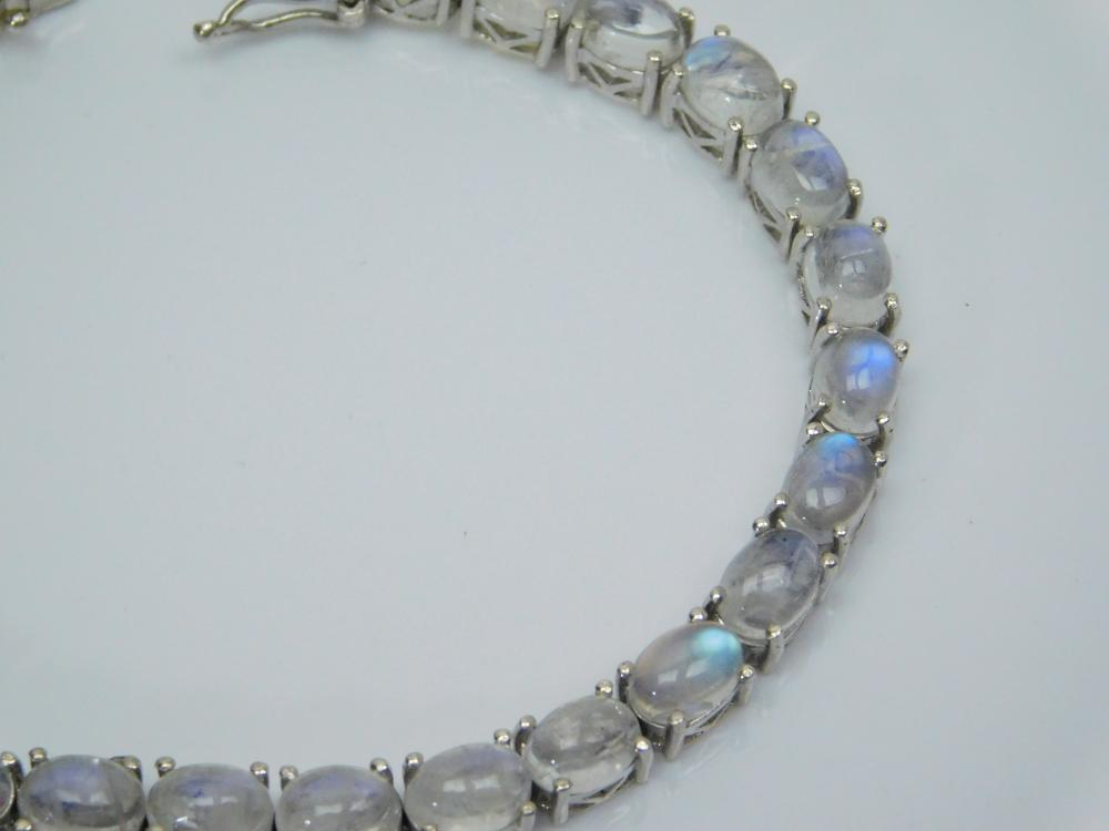 Lot 161: Sts Sterling Silver Moonstone Fashion Tennis Bracelet 17.6G