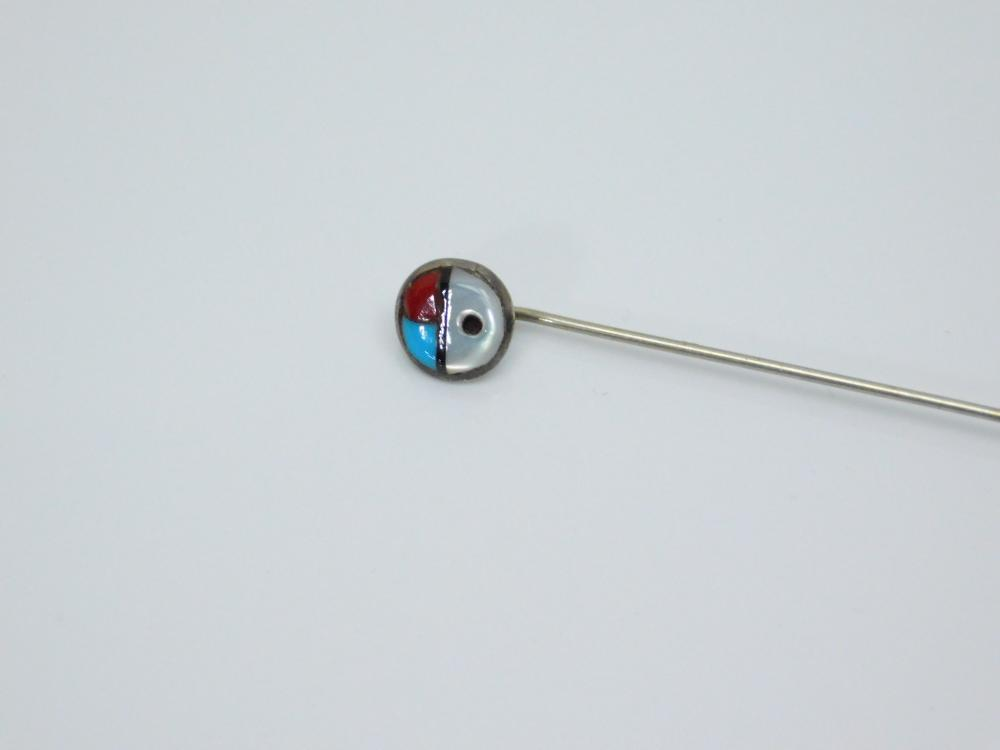 Lot 163: Vintage Native American Sterling Turquoise Coral Mop Sunface Stick Pin