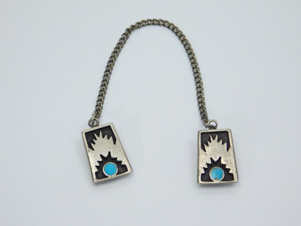 Lot 168: Vintage Native American Hopi Sterling Silver Turquoise Scarf Clips 13.7G