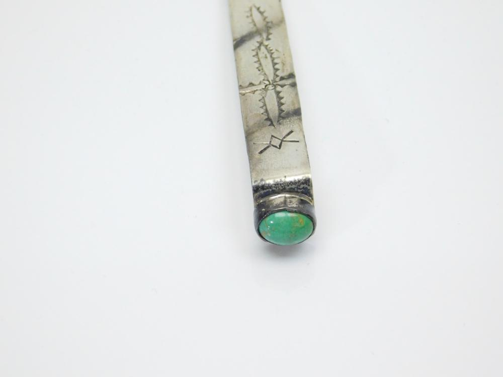 Lot 169: Vintage Native American Navajo Jack Tom Stamped Sterling Turquoise Bookmark 5.4G