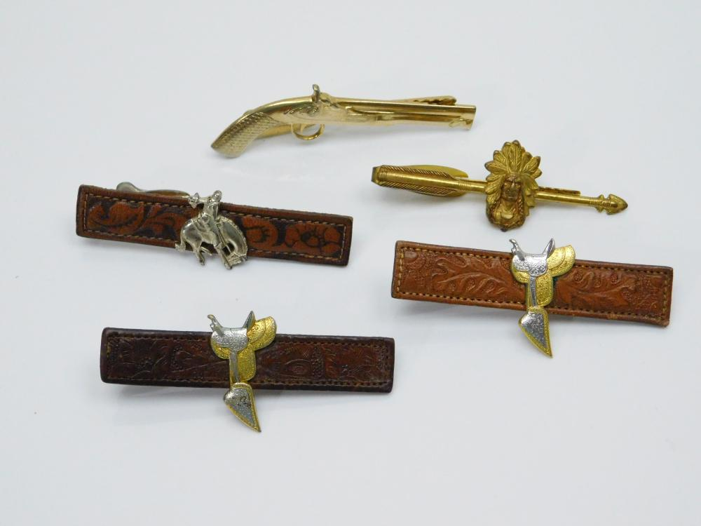 Lot Of Vintage Western Leather Horse Saddle Bucking Bronco Indian Chief Pistol Tie Clips