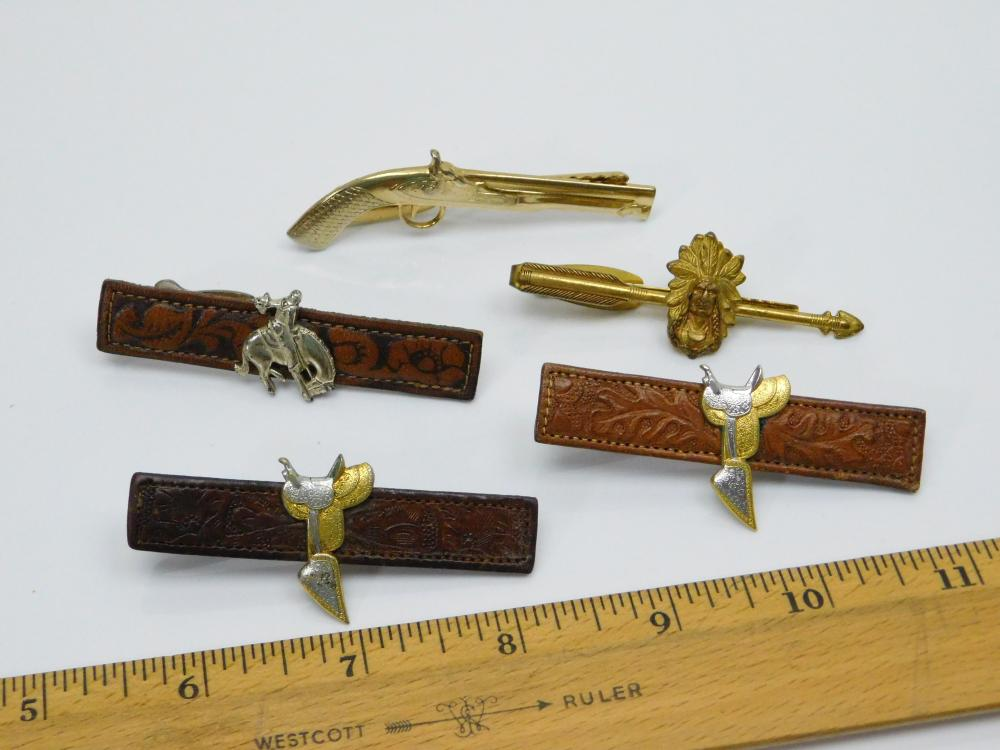 Lot 172: Lot Of Vintage Western Leather Horse Saddle Bucking Bronco Indian Chief Pistol Tie Clips