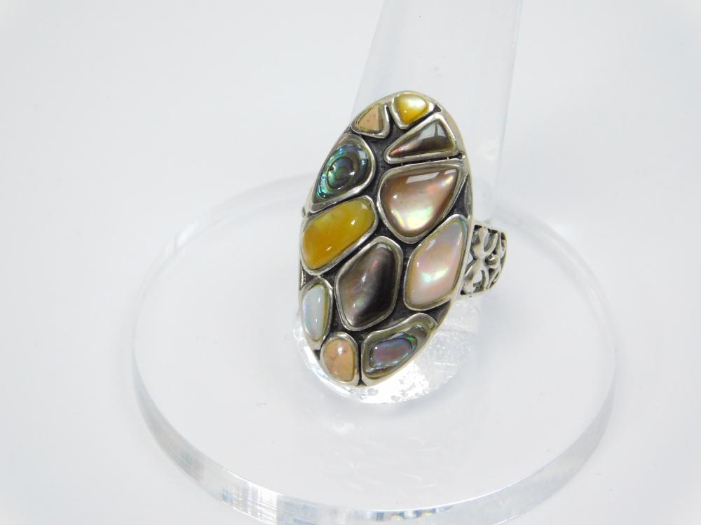 Vintage Thailand Sterling Silver Mixed Abalone Yellow Pink Mop Shell Cluster Fashion Ring 7.5G Sz8