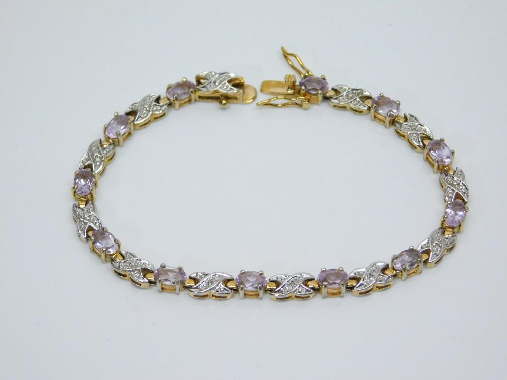 Lot 181: Goldtone Sterling Silver Purple Cz Fashion Tennis Bracelet 11.5G
