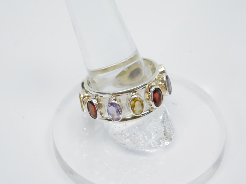 Lot 182: Sterling Silver Amethyst Garnet Citrine Ring 6.8G Sz10