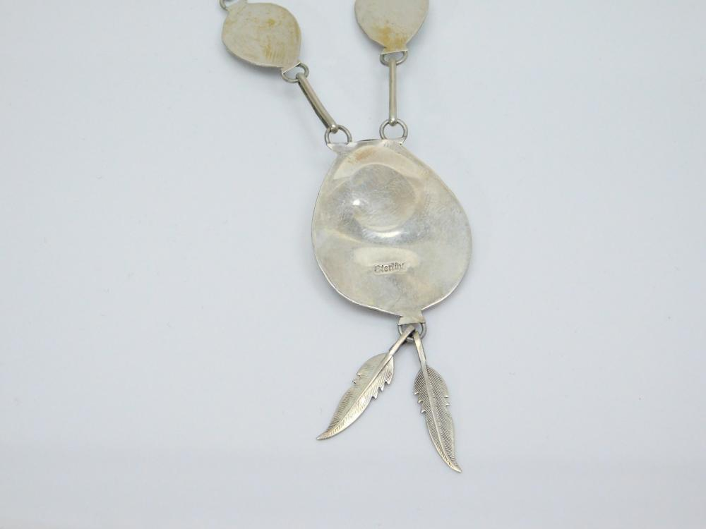 Lot 184: Vintage Native American Sterling Silver Turquoise Shadowbox Bearpaw Feather Dangle Necklace 13G