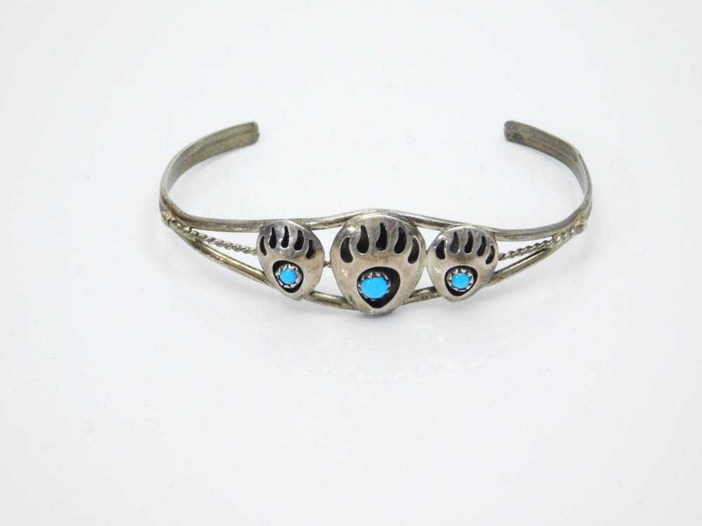 Lot 186: Vintage Native American Sterling Silver Turquoise Shadowbox Bearpaw Cuff Bracelet 6.9G
