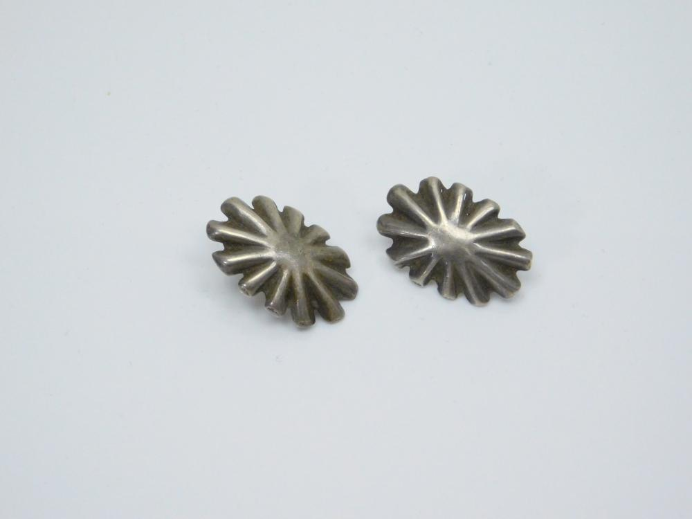 Vintage Native American Or Mexico Sterling Silver Stamped Concho Earrings 3.3G