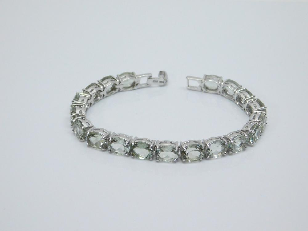 Sterling Silver Green Faceted Cz Fashion Tennis Bracelet 23G