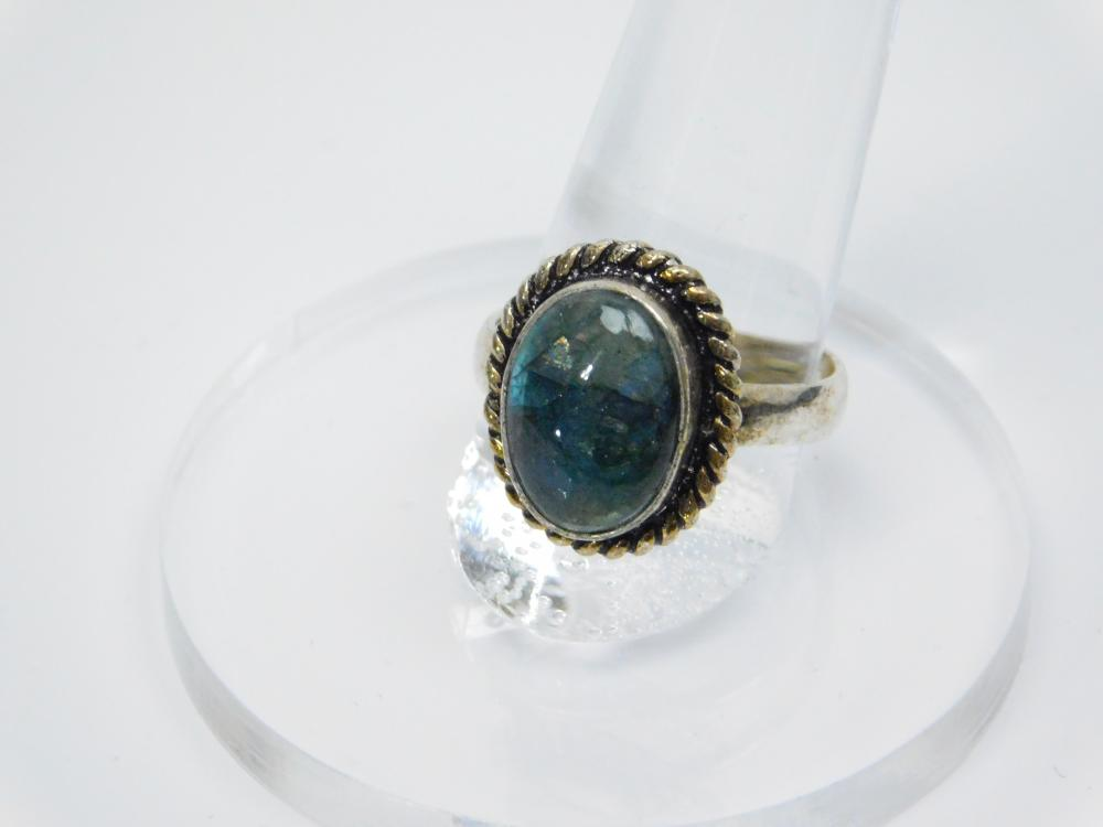Lot 191: Vintage Mexico Or Thailand Sterling Silver Labradorite Ring 4.7G Sz9.5