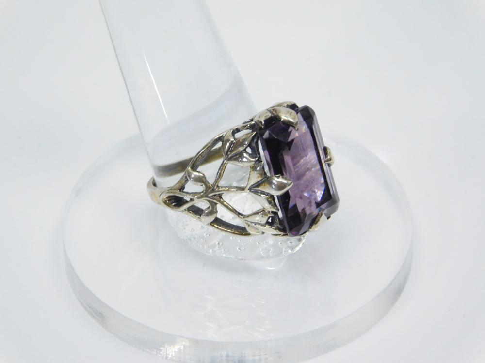 Sterling Silver Large Amethyst Leaf Setting Fashion Ring 6.6G Sz10