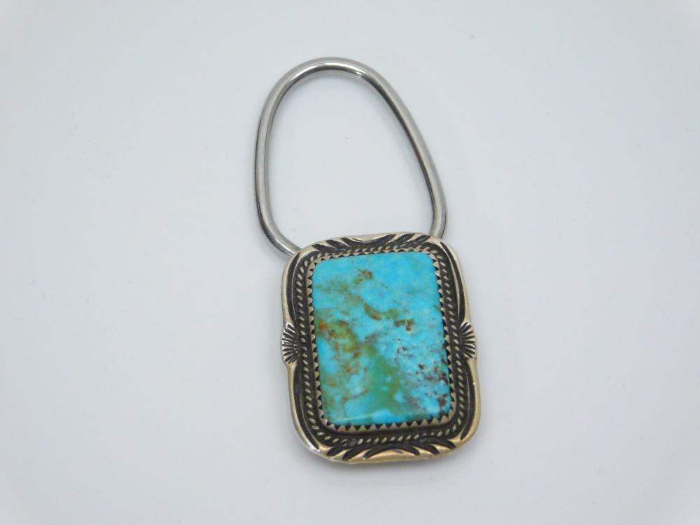Lot 193: Vintage Native American Navajo Sterling Silver Turquoise Stamped Bezel Key Ring 12G