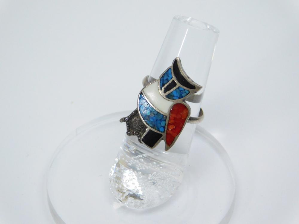 Lot 195: Vintage Native American Zuni Sterling Silver Inlaid Turquoise Coral Onyx Owl Ring 4G Sz6.25