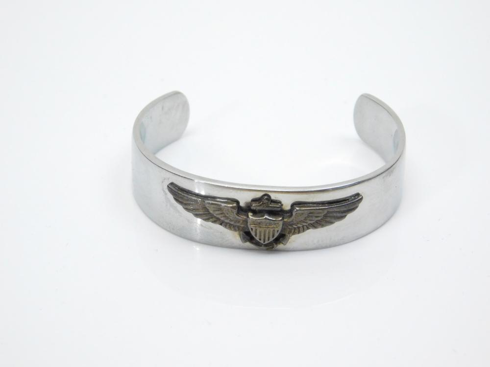 Vintage Korean War Navy Pilot Wings Sweetheart Cuff Bracelet