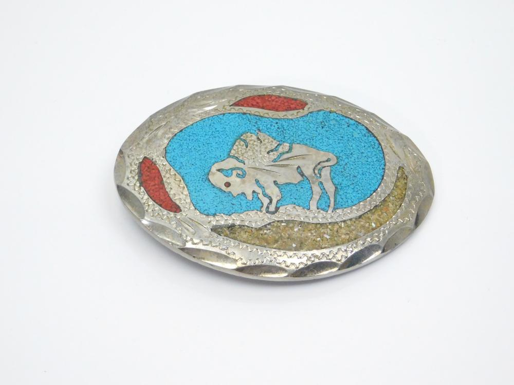 Vintage Native American Nickel Silver Turquoise Coral Chip Inlay Buffalo Belt Buckle