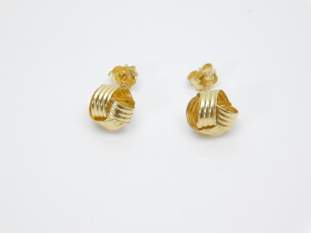 14K Gold Woven Ball Ribbon Post Earrings 0.92G