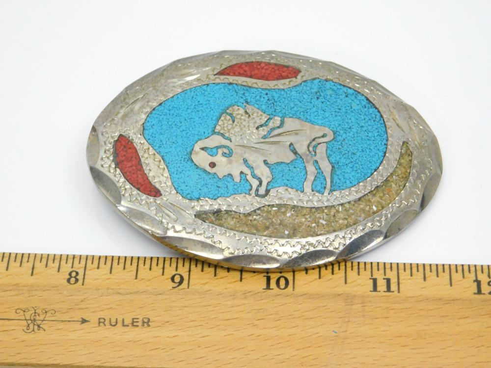 Lot 200: Vintage Native American Nickel Silver Turquoise Coral Chip Inlay Buffalo Belt Buckle