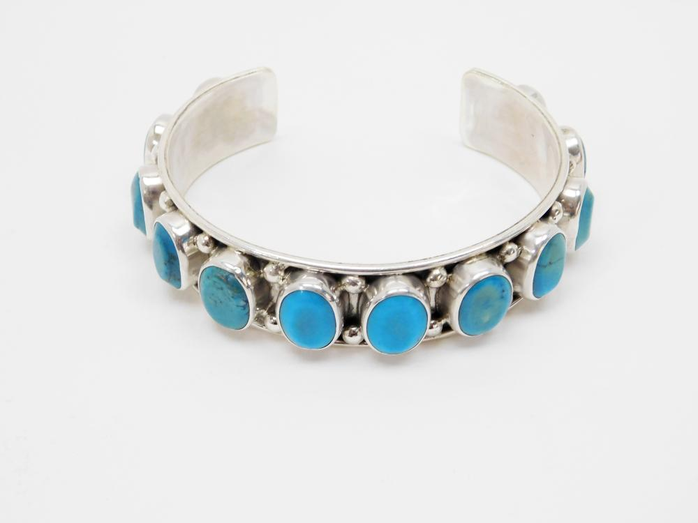 Vintage Native American Or Mexico Sterling Silver Turquoise Mens Cuff Bracelet 71G
