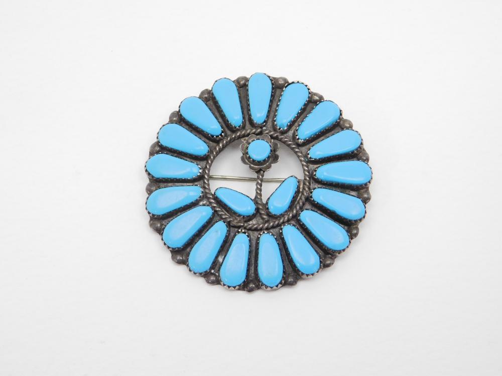 Vintage Native American Navajo Sterling Silver Turquoise Flower Brooch Pendant 16.7G