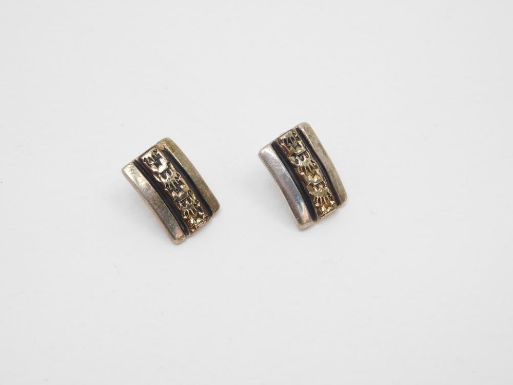 Vintage Native American 12Kgf Overlay On Sterling Post Earrings 5G