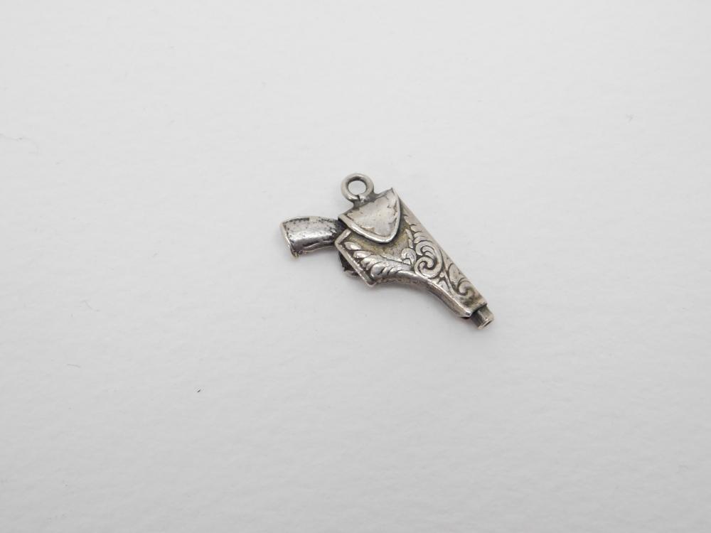 Vintage Handmade Sterling Silver Miniature Holstered Gun Pistol Charm Pendant 2.3G