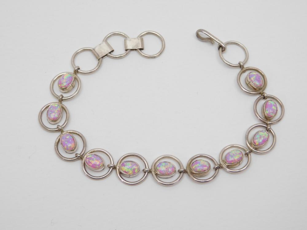 Southwestern Sterling Silver Pink Lab Opal Cabachon Ring Link Bracelet 14G