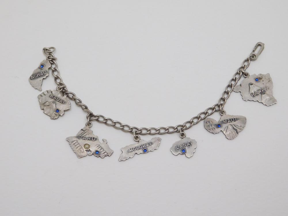 1940S 7 Hawaiian Islands Sterling Silver Blue Sapphire & Seed Pearl Charm Bracelet 20.5G