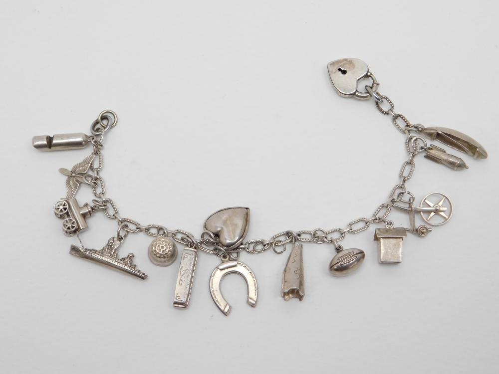 Vintage Sterling Silver 15 Charm Bracelet Including Working Harmonica & Heart Padlock Closure 21G