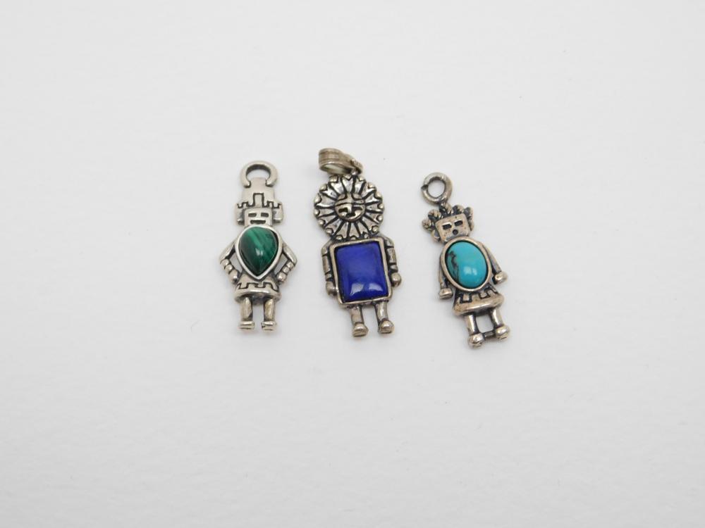 3 Carolyn Pollack Sterling Turquoise Lapis Malachite Talavi Hemis Tawa Kachina Charms 7.9G
