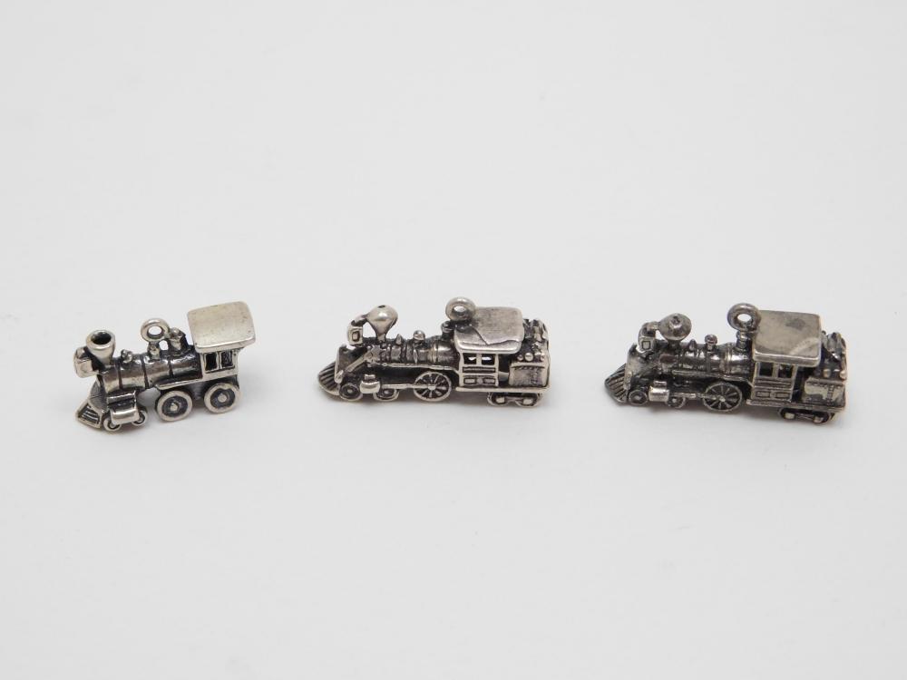 3 Vintage Sterling Silver Train Engine Locomotive Charms 13.9G