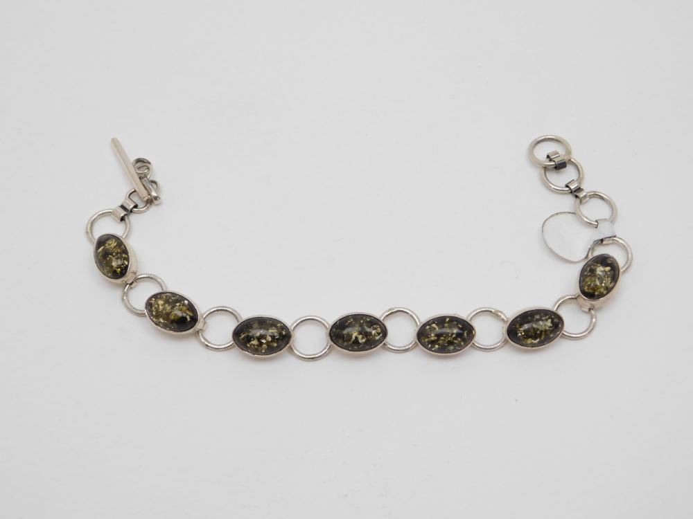Vintage Native American Navajo Sterling Silver Amber Cabochon & Ring Link Bracelet 12.6G