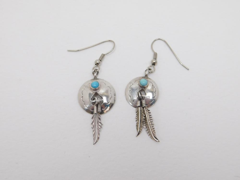 Vintage Native American Navajo Verna Blackgoat Sterling Turquoise Concho Feather Dangle Earrings 4.3G