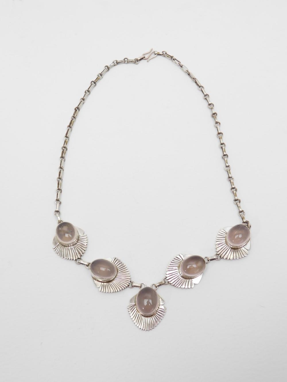 Southwestern Handmade Sterling Silver Rose Quartz 5 Stone Necklace 38G