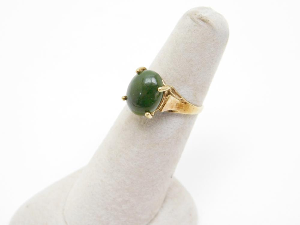 Vintage Vermeil Sterling Silver Jade Ring 2.8G Sz6.25