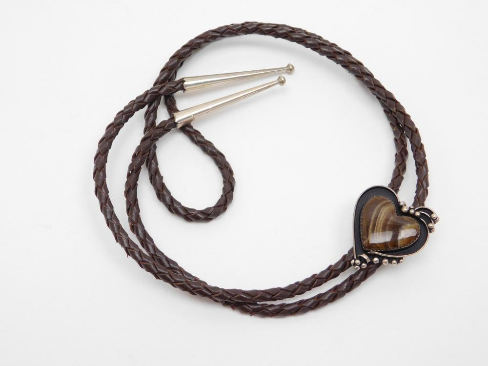 Vintage Southwestern Sterling Ramona Eastwood Banded Agate Heart Bolo Tie 25G