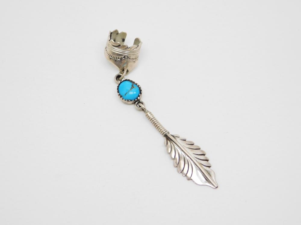 Vintage Native American Navajo Ahasteen Sterling Turquoise Feather Dangle Ear Cuff 5.6G
