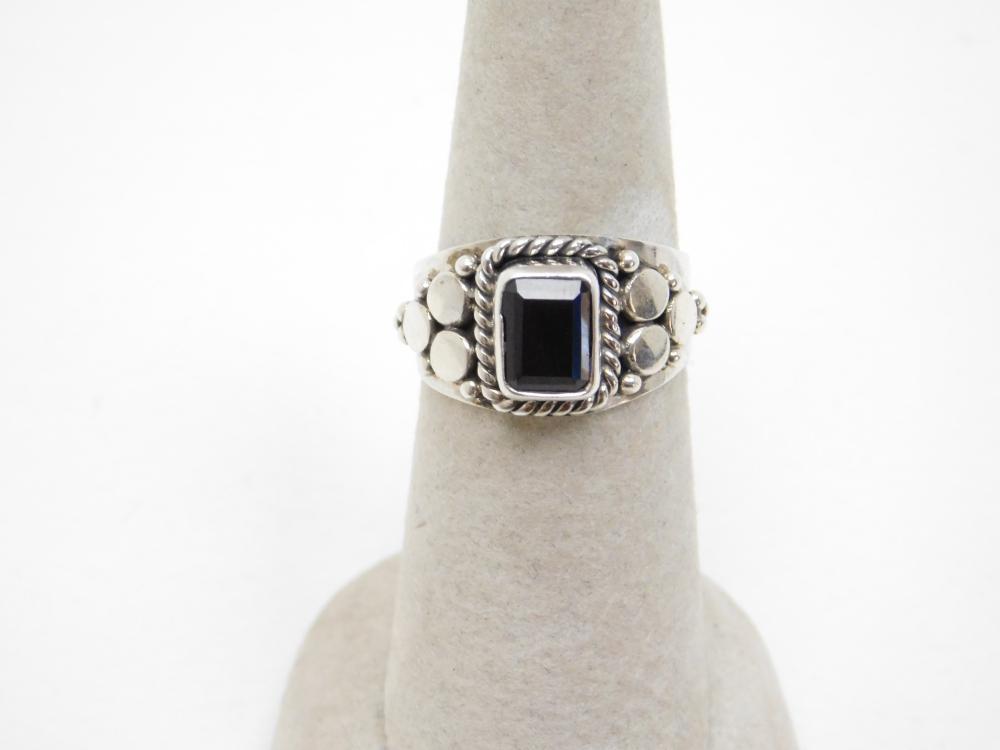 Mexico Sterling Silver Black Onyx Ring 6G Sz7.5