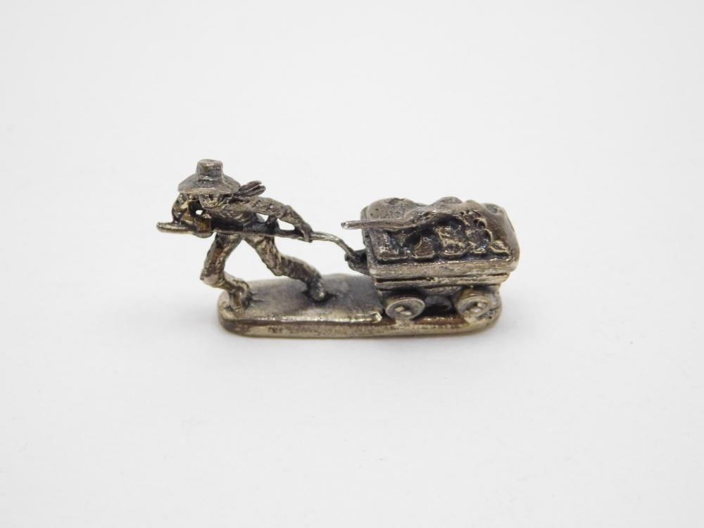 Miniature Sterling Silver Gold Miner Pulling Mining Cart 15.6G